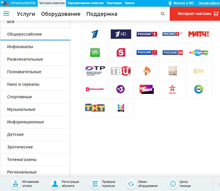Список каналов от компании Триколор