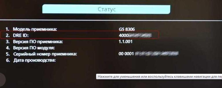 Фото ID-счёта в настройках телевидения